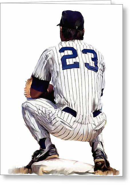 Baseball Drawings Greeting Cards -  A Moment To Remember II Don Mattingly  Greeting Card by Iconic Images Art Gallery David Pucciarelli