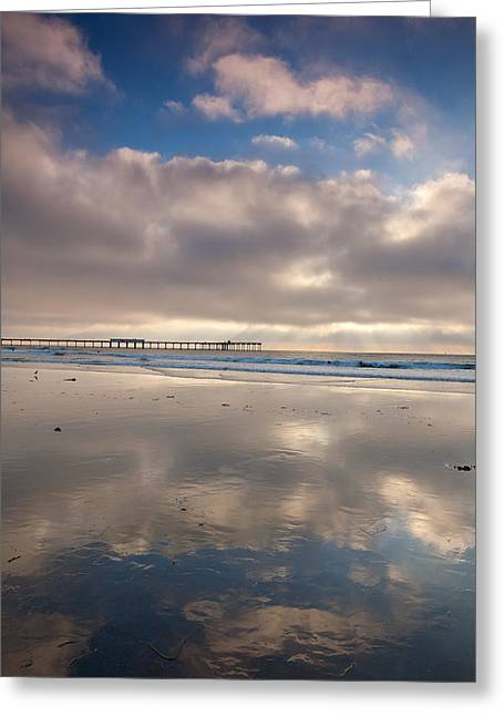 Locations Greeting Cards -  A Piers Reflected Greeting Card by Peter Tellone