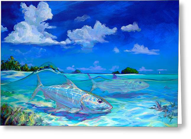 Sea Sport Greeting Cards -  A Place Id Rather Be - Caribbean Bonefish Fly Fishing Painting Greeting Card by Mike Savlen