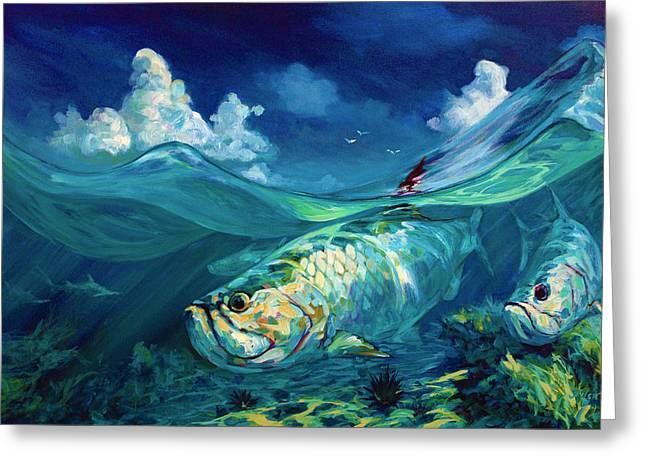 Sea Life Greeting Cards -  A Place Id Rather Be - Caribbean Tarpon Fish Fly Fishing Painting Greeting Card by Mike Savlen