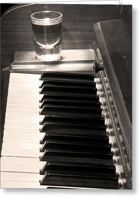 Bw Canvas Art Greeting Cards -  A shot of Bourbon Whiskey and The BW Piano Ivory Keys in Sepia Greeting Card by James BO  Insogna