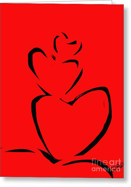 Modern Art Greeting Cards -  A stack of hearts Greeting Card by Go Van Kampen