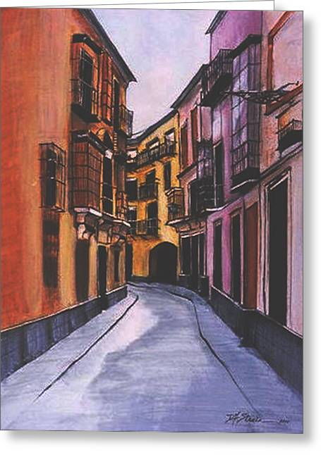Fineartamerica Drawings Greeting Cards -  A Street in Seville Spain Greeting Card by Diane Strain