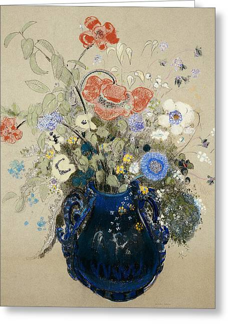 Flower Still Life Prints Greeting Cards -  A Vase of Blue Flowers Greeting Card by Odilon Redon