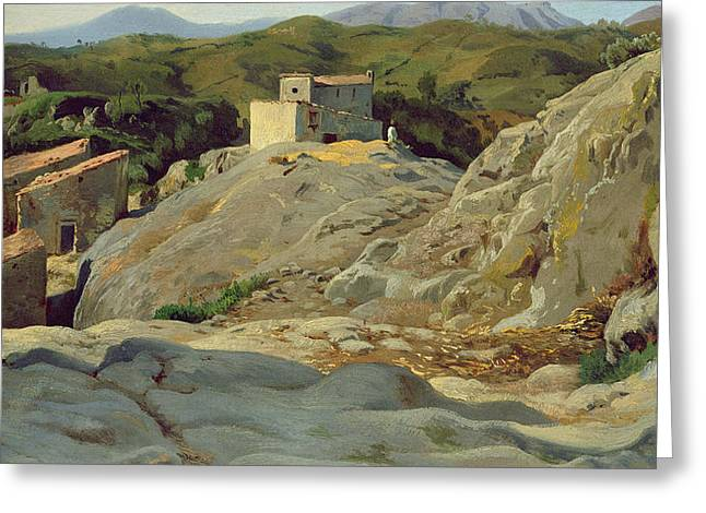 Arid Country Greeting Cards -  A Village in the Mountains Greeting Card by Louis Gurlitt