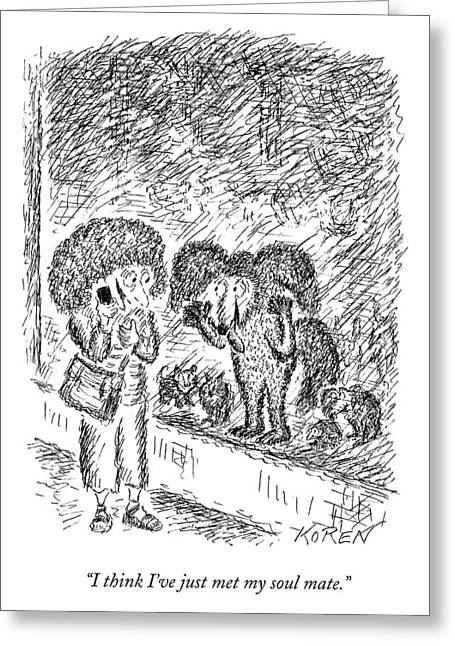 A Woman On The Phone Looks At A Dog In A Pet Greeting Card by Edward Koren