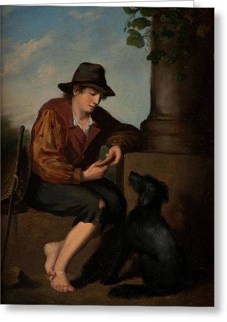 Green Ocean With White Water Greeting Cards -  A Young Traveller with his Faithful Companion Greeting Card by 19th Century Italian School