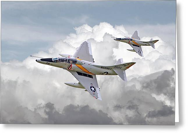 Usmc Greeting Cards -  A4 - Skyhawks Greeting Card by Pat Speirs