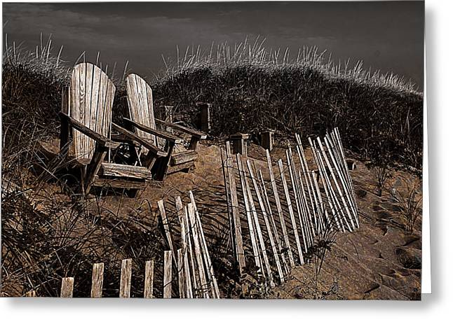 Sand Fences Greeting Cards -  Adirondack Beach Chairs  Greeting Card by Rick Mosher