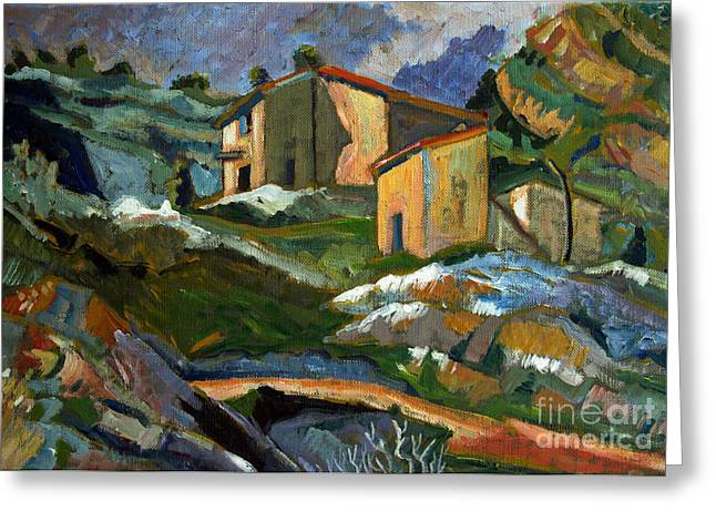 In The Studio Greeting Cards -  After Houses at the LEstaque - Paul Cezanne Greeting Card by Charlie Spear
