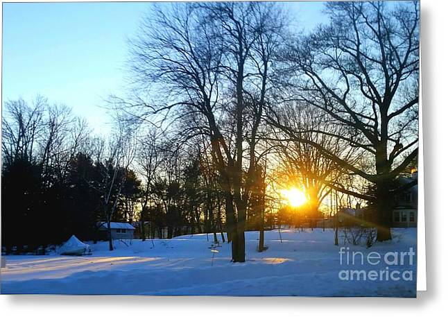 Sunset After A Storm Greeting Cards - After Snow Greeting Card by Rose Wang