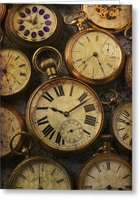 Timepieces Greeting Cards -  Aged Pocket Watches Greeting Card by Garry Gay