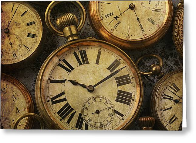 Aged Pocket Watches Greeting Card by Garry Gay
