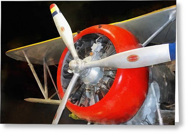 Biplane Greeting Cards -  Airplane - Grumman F3F-2 Biplane Greeting Card by Susan Savad