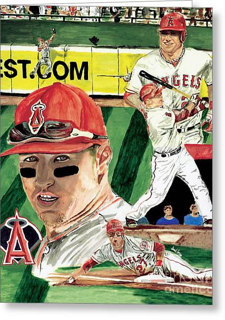 Rookie Of The Year Greeting Cards -  AL 2012 MLB Rookie of the Year Mike Trout  Greeting Card by Israel Torres