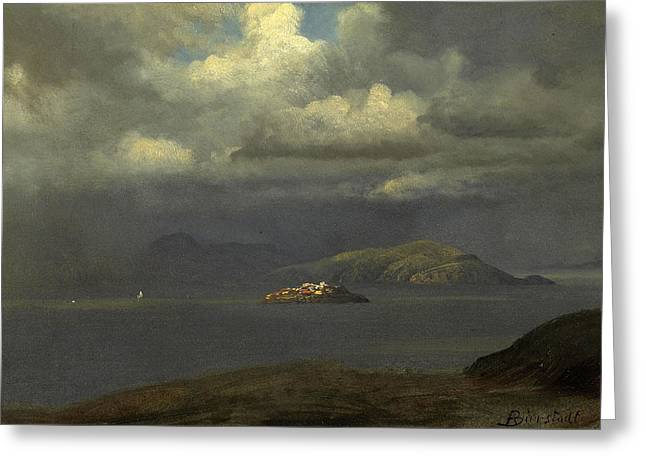 Alcatraz Greeting Cards -  Alcatraz San Francisco Bay Greeting Card by Albert Bierstadt