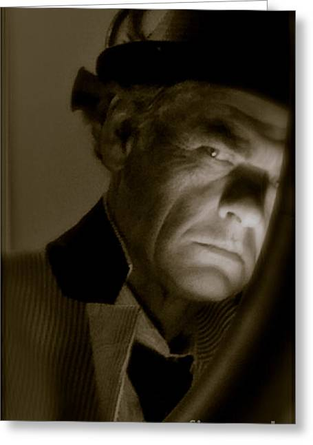 Cult Photos Greeting Cards -  Alfred Hitchcock Presents - Self portrait. Featured 5 Times Greeting Card by  Andrzej Goszcz