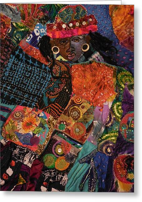 Woman Tapestries - Textiles Greeting Cards -  Aliyah Greeting Card by Gwendolyn Aqui-Brooks