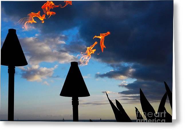 Beach At Night Greeting Cards -   Aloha Sunset   Greeting Card by Alexandra Jordankova