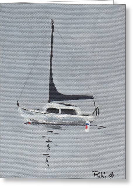 Santa Cruz Sailboat Greeting Cards -    Alone At Dawn Greeting Card by Riki and Allen Colby