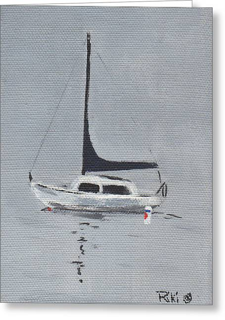 Santa Cruz Ca Paintings Greeting Cards -    Alone At Dawn Greeting Card by Riki Colby