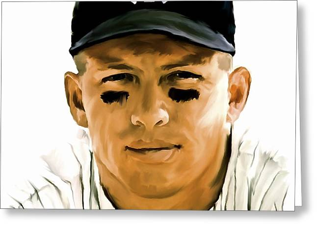 American Icon Mickey Mantle Greeting Card by Iconic Images Art Gallery David Pucciarelli
