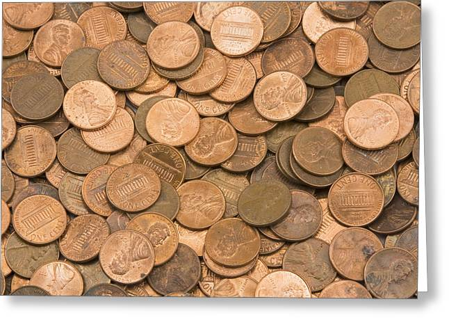 Coins Greeting Cards -  American Pennies Greeting Card by Keith Webber Jr