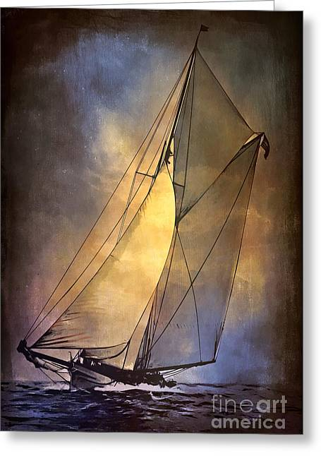 Americas Cup Greeting Cards -  Americas Cup  1887 Greeting Card by Andrzej Szczerski