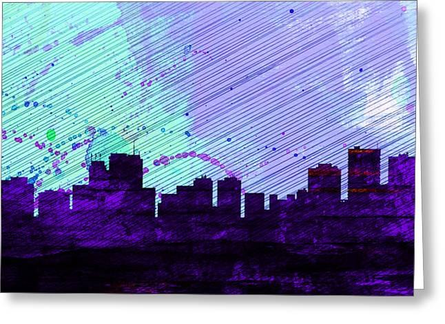 Architectural Paintings Greeting Cards -  Anchorage City Skyline Greeting Card by Naxart Studio
