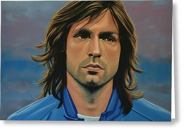 League Greeting Cards -  Andrea Pirlo Greeting Card by Paul Meijering