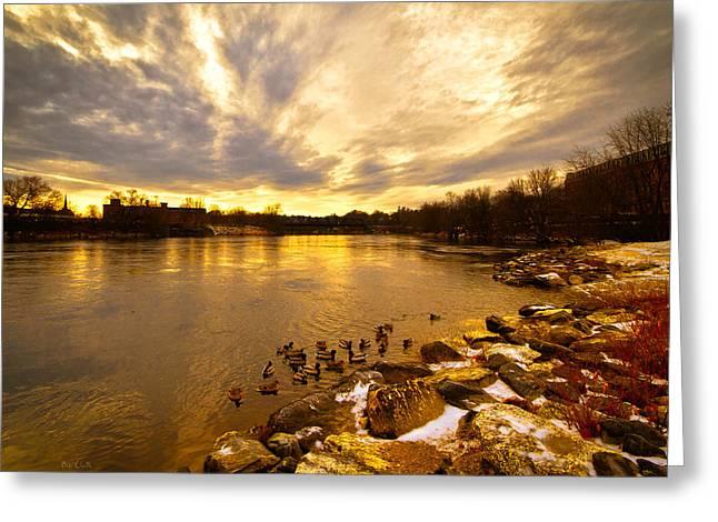 Androscoggin Greeting Cards -  Androscoggin River between Lewiston and Auburn Greeting Card by Bob Orsillo