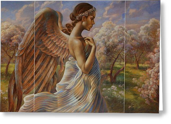 Angel work Paintings Greeting Cards -  Angel in the Eden Garden  Greeting Card by Arthur Braginsky