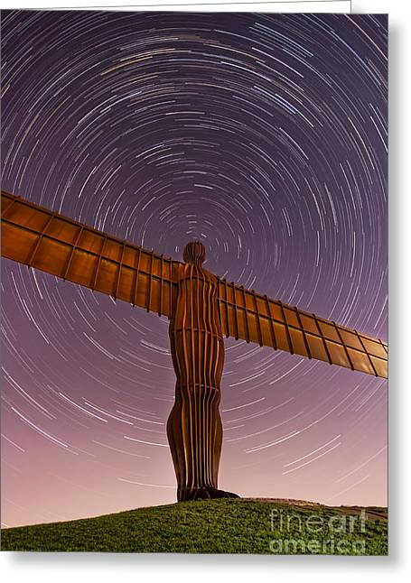 Night Angel Greeting Cards -  Angel of the North Stars Greeting Card by Ray Pritchard