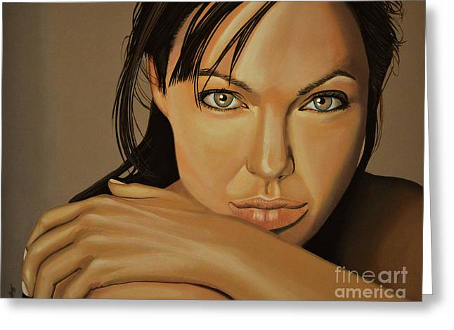 Tourists Greeting Cards -  Angelina Jolie Voight Greeting Card by Paul  Meijering