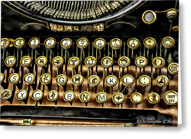 Antique Keyboard Greeting Card by Christopher Holmes