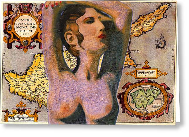 Old Map Digital Art Greeting Cards -  Aphrodite and Ancient Cyprus Map Greeting Card by Augusta Stylianou