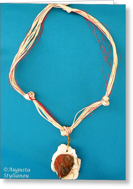 Beige Jewelry Greeting Cards -   Aphrodite Gamelioi Necklace Greeting Card by Augusta Stylianou