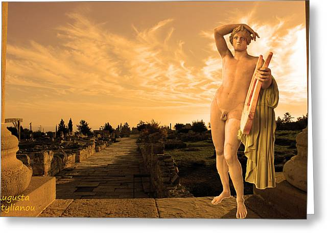 Amazing Sunset Digital Greeting Cards -  Apollo Sacred Street Greeting Card by Augusta Stylianou