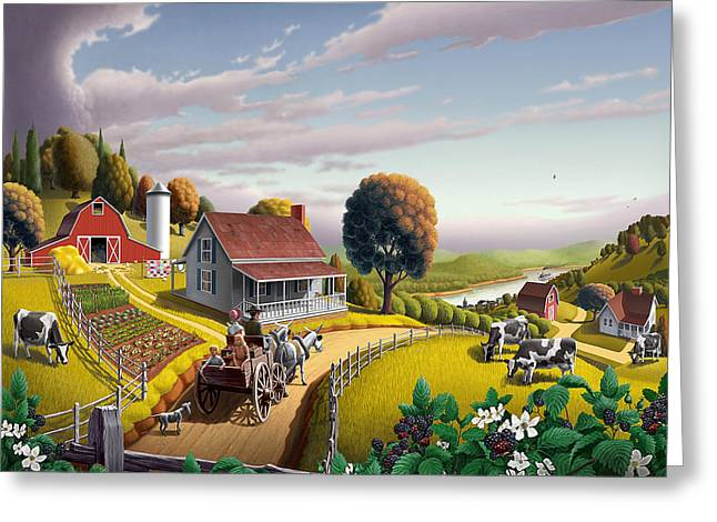 Folk Art Landscapes Greeting Cards -  Appalachian Blackberry Patch Rustic Country Farm Folk Art Landscape - Rural Americana - Peaceful Greeting Card by Walt Curlee
