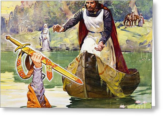 King Arthur Greeting Cards -  Arthur and Excalibur Greeting Card by James Edwin McConnell
