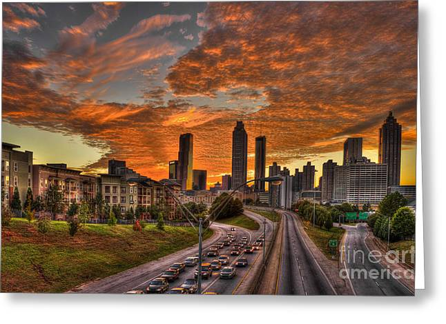 Metropolitan Area Greeting Cards -  Atlanta Orange Clouds Sunset Capital of the South Greeting Card by Reid Callaway