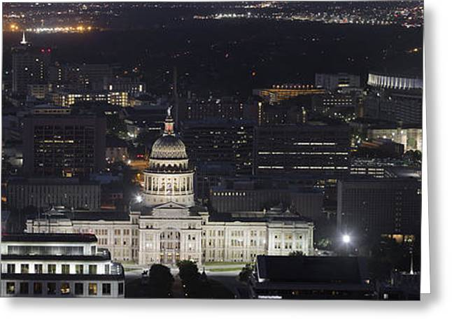 Ut Tower Greeting Cards - Panorama of the State Capitol from the Austin Skyline Greeting Card by Rob Greebon