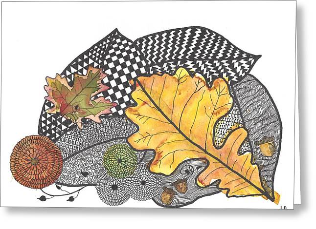 Pen Greeting Cards -  Autumn Leaves Greeting Card by Terry Fleckney