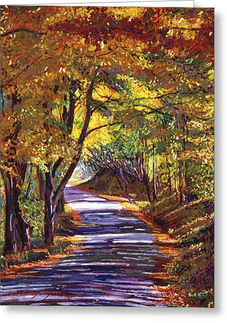 Autumn Landscape Paintings Greeting Cards -  Autumn Road Greeting Card by David Lloyd Glover