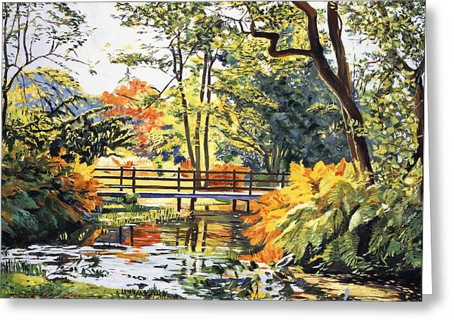 Footbridge Greeting Cards -  Autumn Water Bridge Greeting Card by David Lloyd Glover