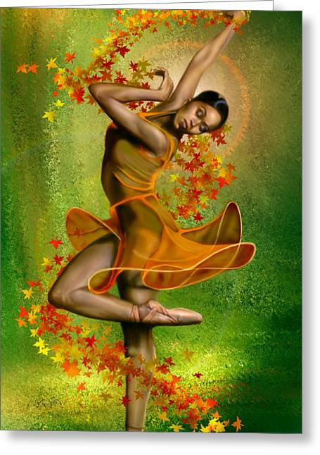 Ballet Dancers Greeting Cards -  Autumn Zephyr -  Seasonal Winds Series 1 of 4 Greeting Card by Reggie Duffie