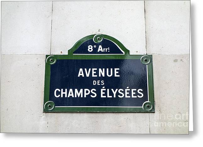Directional Signage. Greeting Cards -  Avenue des Champs Elysees Greeting Card by IB Photo
