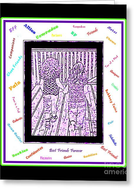 Sidekick Greeting Cards -  B F F - Best Friends Forever Greeting Card by Barbara Griffin