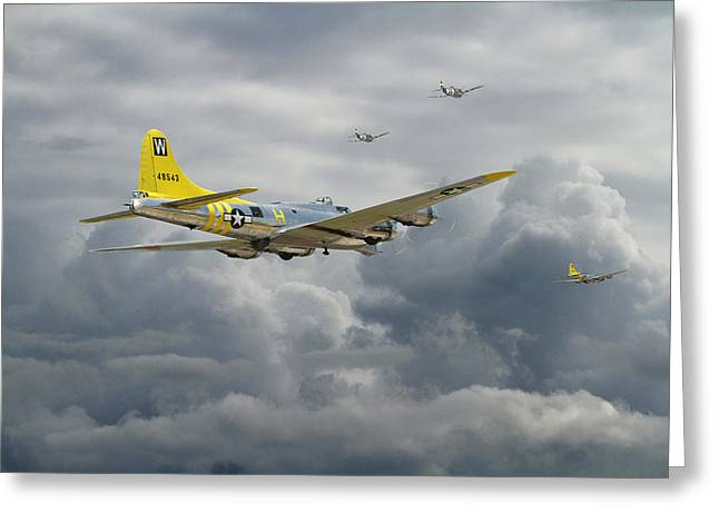 Military Aviation Greeting Cards -  B17 - Rocky Road Home Greeting Card by Pat Speirs