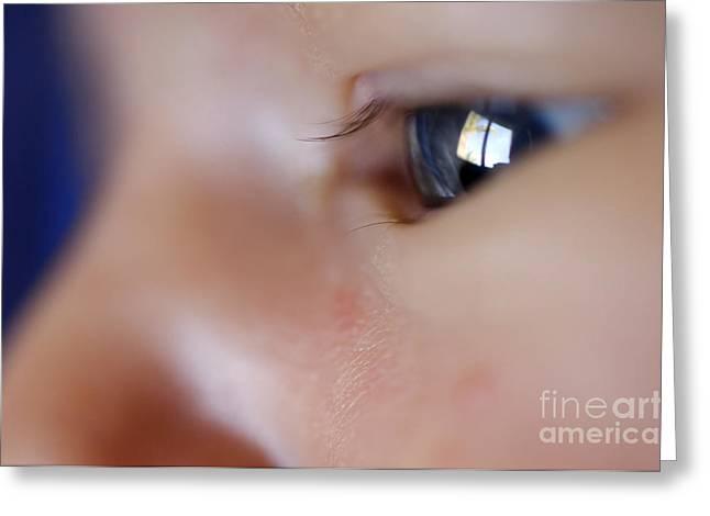 Eyelash Greeting Cards -  Baby Boys Eye  Greeting Card by Hagai Nativ